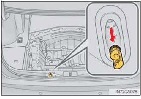 With the spare tire removed, remove the plug covering the access hole for the