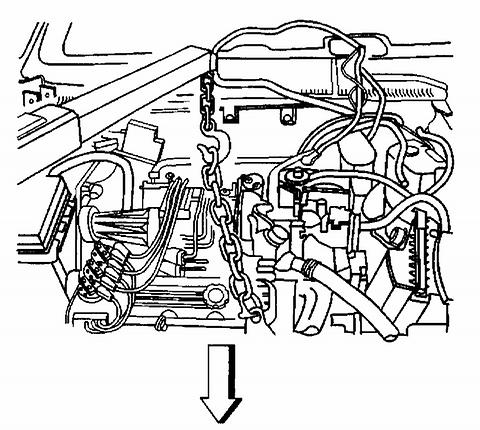 46. Remove the heater hoses from the drive belt tensioner fittings. 47. Using a block of wood between a floor jack and the transaxle, support the transaxle at the pan. 48.