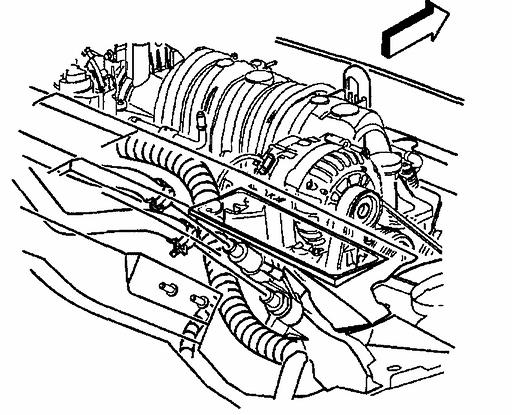 Important: Ensure clearance is maintained between the engine and the following: ^ The A/C accumulator ^ The A/C accumulator hose ^ The A/C compressor ^ The A/C compressor hose ^ The engine wiring