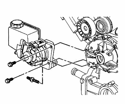 16. Position the power steering pump to the engine. 17. Loosely install the side power steering pump mounting bolt. Do not tighten at this time. 18. Lower the vehicle. 19.