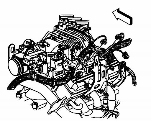 30. Disconnect the wiring harness electrical connectors from the following components on the left side of the engine: ^ The fuel injectors ^ The ignition harness ^ The boost control solenoid, L67
