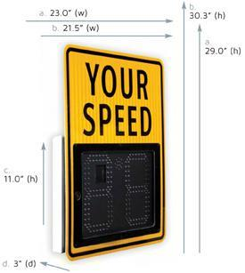Dimensions Digit: 11 (h) x 5.6 (w), 98 LEDs per digit Unit alone: 15.8 (h) x 21.4 (w) x 3.0 (d) Unit with YOUR SPEED sign mounted: o Full size sign: 29.0 (h) x 23.0 (w) x 3.