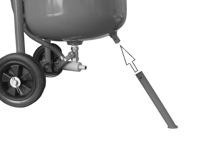axle, see Fig 4. ATTACH FRONT LEG 1. Roll the tank over so that handlebars are now facing down. 2.