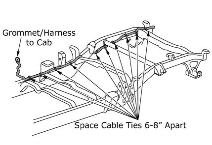"c) Install edge biter clip to body panel to secure harness. (Figure 23) Fig. 24 24) Securing tailgate main harness to chassis harness. a) Cable tie tailgate main harness every 6-8"" to chassis harness."