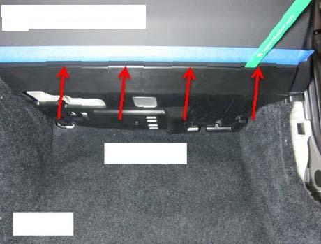 (o) Place masking tape along the bottom edge of the passenger side knee panel. Fig.