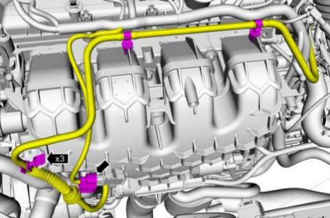 Remove the intake manifold by following the steps below: First, disconnect the MAP sensor on the front of the plenum, as