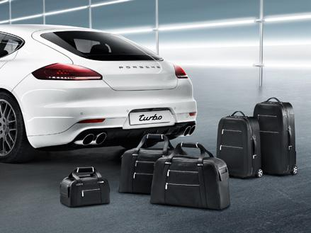 Luggage set The luggage set comprising two trolley cases, two travel bags and a beauty case has been precisely adapted to fit the luggage compartment dimensions of the Panamera.