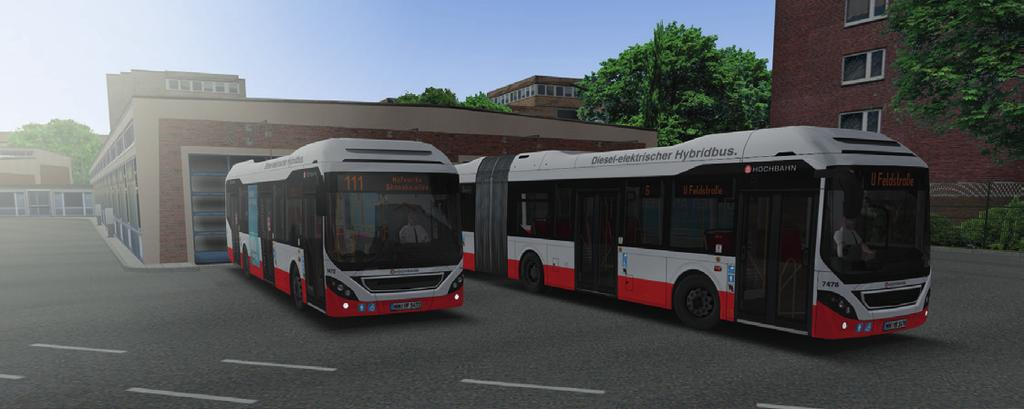 The new hybrid buses Volvo 7900 H und 7900 LH The two new bus models were built close-to-life based on real vehicles from Hamburg regarding functionalities like drive-train, door controls, dashboard