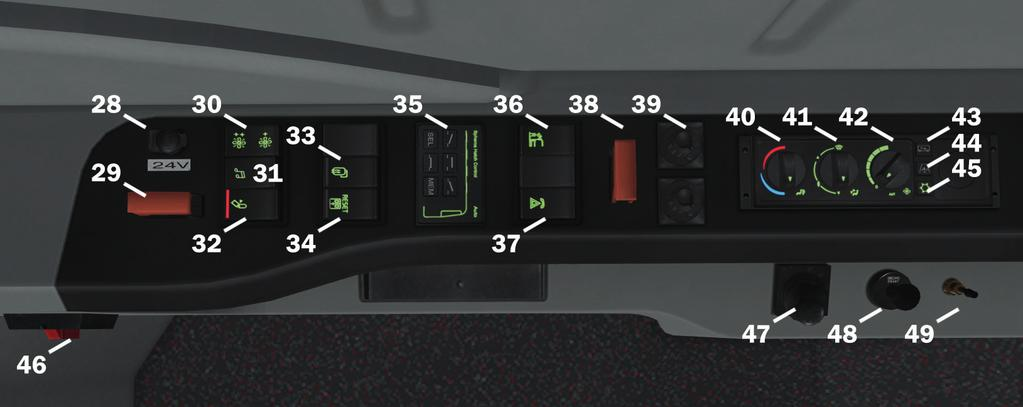 17 Switch change display page 18 Switch vehicle menu (no functionality) 19 Switch lock doors 20 Switch cut-out external door emergency buttons 21 Gear selector 22 Switch kneeling 23 Switch stroller
