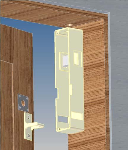 (see template for instructions) 2) Remove cover from interlock and fasten Interlock to door jamb with #8 wood screws.