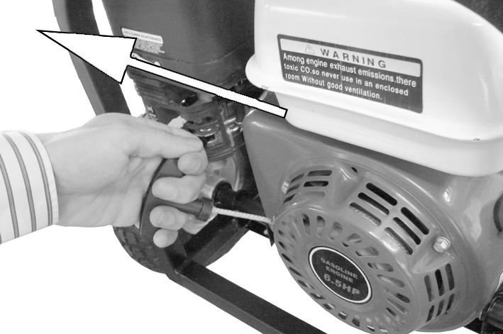 5. Pull the starting handle lightly until you start to feel resistance and then pull up sharply to start the generator. NOTE: You may have to do this more than once.