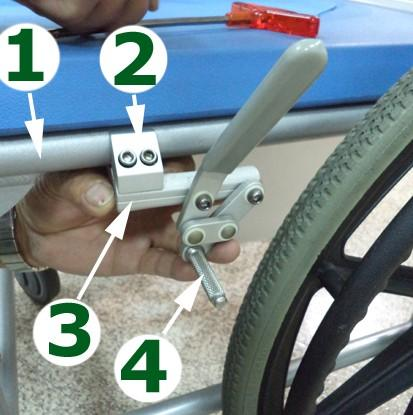 Wheel Lock Installation for 24 Wheels When the optional 24 wheels are ordered with your commode the push to lock hand brakes will need to be installed to the side frame seat rail.
