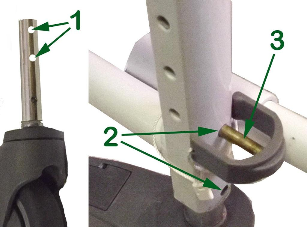 Insert four caster stems (1) into holes (2) in the four corners of the bottom of the seat frame (3).