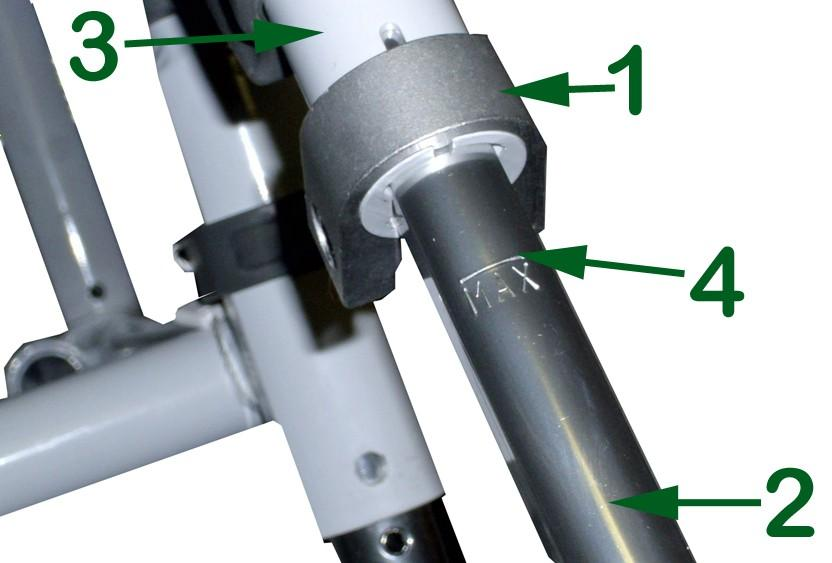 6. Anti-tipper adjustment is made by depressing the anti-tipper push pin (1), sliding the inner anti-tipper tube (2) to the desired length, aligning the push pin with the closest adjustment
