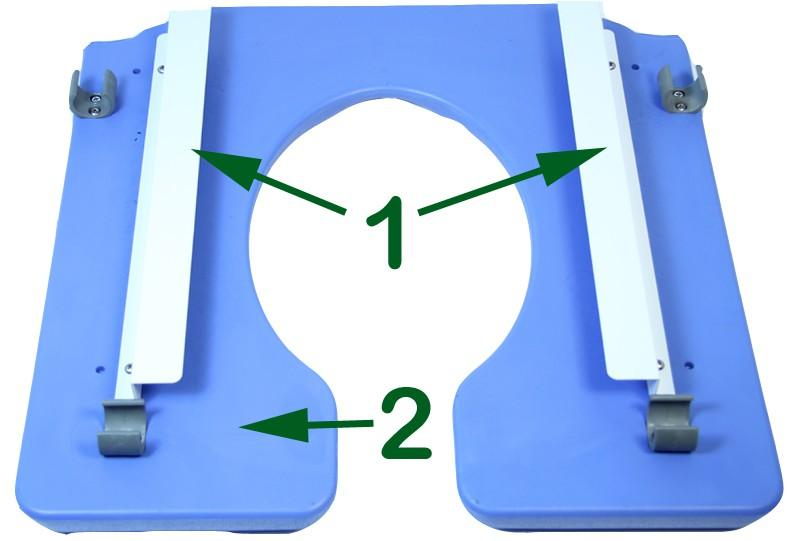 To attach the foot rest (1) to the commode lower the foot rest pivot plug (2) into the top of the front seat frame (3) with the foot plate (4) off to the side of the commode.