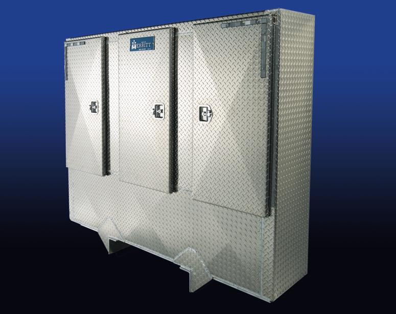 Builder of High Performance, High Quality Truck Products Large storage area, keep your storage items out of the weather and out of sight. Full three door enclosure. A very compact high strength unit.
