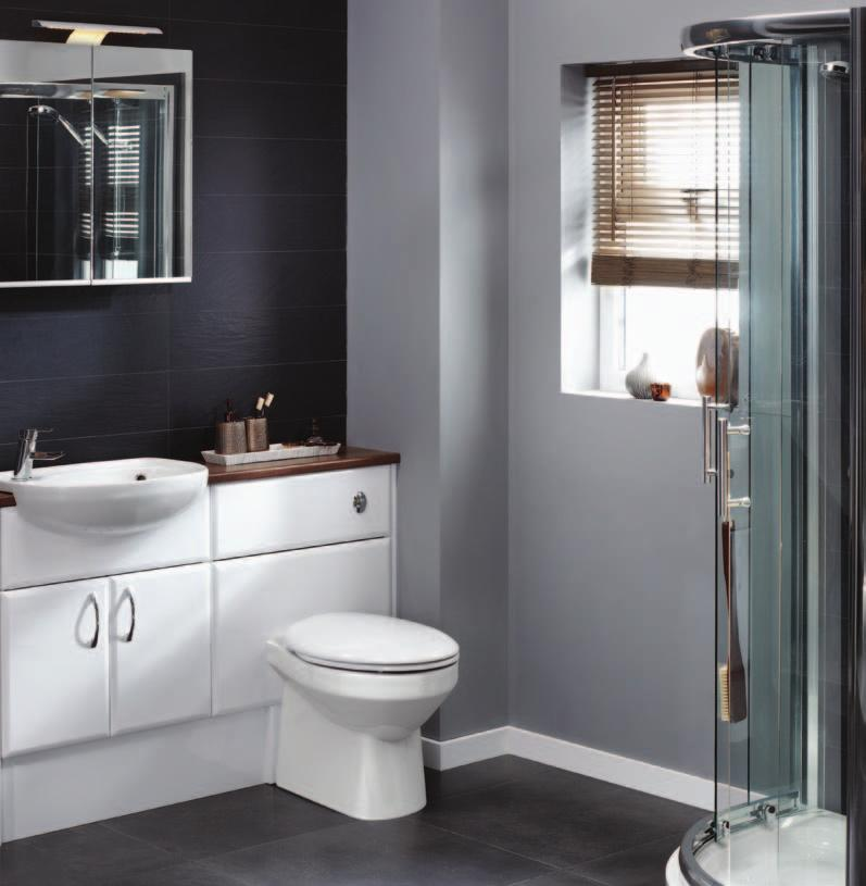 Saponetta Doorstyle furniture products featured C11176 Slimline Washbasin Unit 600mm C11356 1510mm Slim Laminate Worktop C11366 Short Projection Semi Recessed Basin E89724 Handle: E C11381 E90075