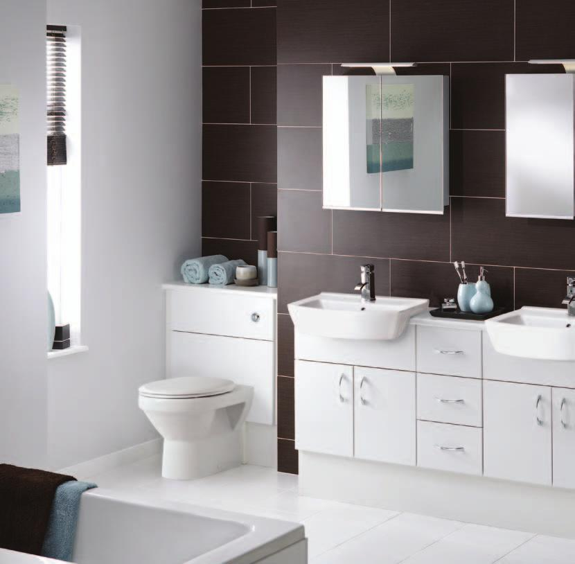 White / White Gloss Twin washstations are the ultimate luxury, particularly in a busy household.