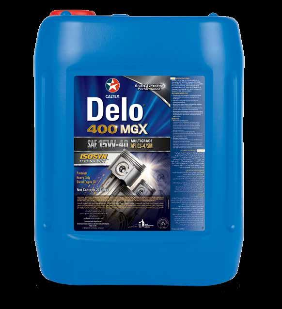HIGH-PERFORMING DIESEL ENGINE OIL Delo 400 MGX SAE 15W-40 Exceeds Industry Specifications and OEM Approvals.