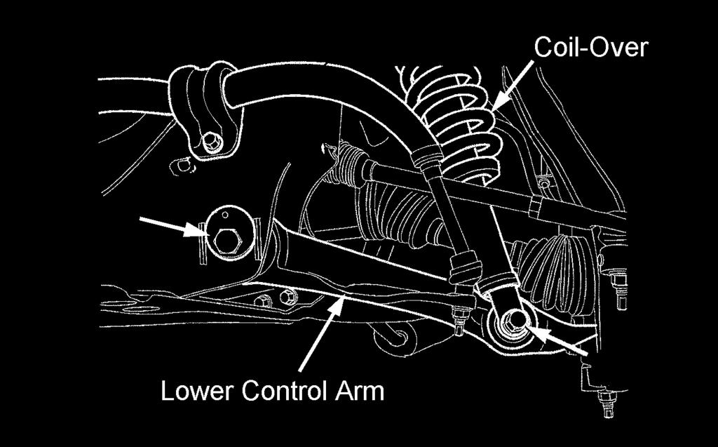 Refer to illustration 8. Remove the lower control arm. 6) Repeat steps 2 through 5 for the other side.
