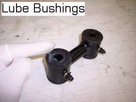 Lube the polyurethane bushing surface on both dogbone end links. Look at your dogbone and notice that the bushing sleeves on each end have different inner diameters.