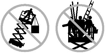 Do not place ladders or scaffolds in the platform or against any part of this machine. Do not use the machine on a moving or mobile surface or vehicle.