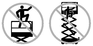 Batteries are used as counterweight and are critical to machine stability. Do not use the machine as a crane. Do not push the machine or other objects with the platform.