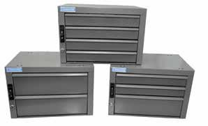 Drawer retention stops prevent drawers from opening while the vehicle is in transit. Made of a hi-impact polymer for a quiet operation. Each drawer comes with dividers and 7 divider slots.