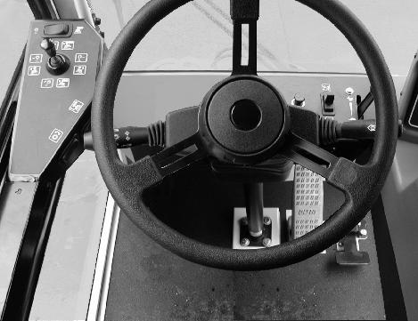 N A M F B C D L K J E I G LEFT HAND STEER MACHINES H A. Steering Wheel B. Accessory Power Socket C. Directional Lever D. Throttle Lever E. Windshield Wiper And Washer Switch F. Ignition Switch G.
