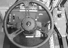 STEERING WHEEL The steering wheel controls the machine s direction. The machine is very responsive to the steering wheel movements.