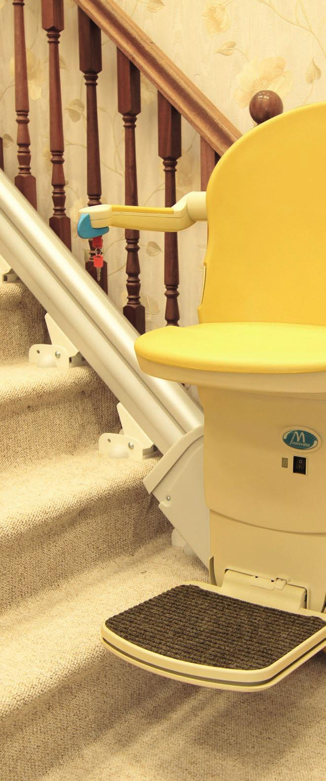 Handicare 1000 For those looking for minimal track intrusion into the staircase, the Handicare 1000 offers one of the slimmest straight