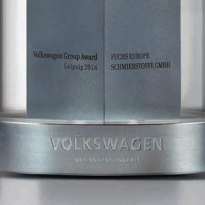 Volkswagen recognised FUCHS for innovation, R&D, product quality and competent project management.