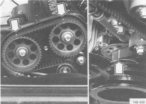 Check that the marking on the crankshaft's belt-guidance pulley is opposite the TDC marking on the engine block.