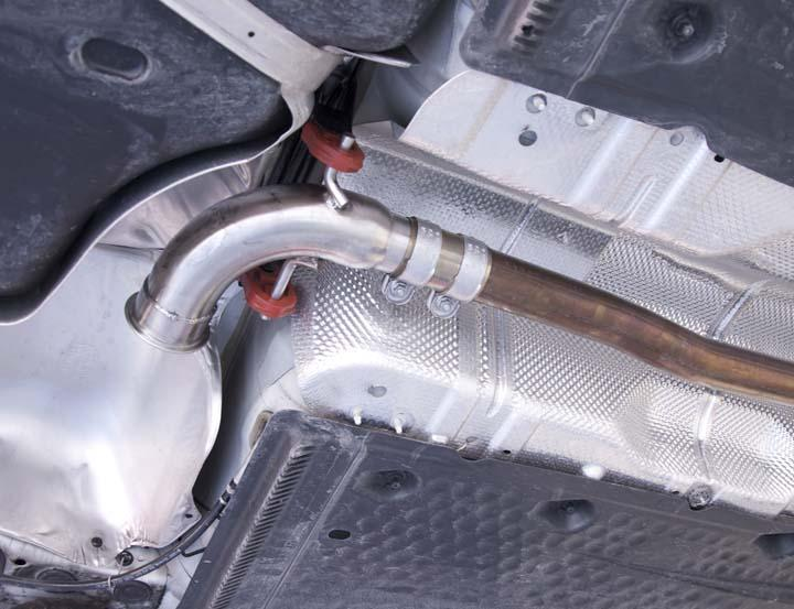 MK5 Gen2 GTI Catback Exhaust Installation Factory Exhaust Removal 1. Jack up the car and secure it properly. 2. Spray penetrating lubricant on all rusty fasteners to facilitate removal. 3.