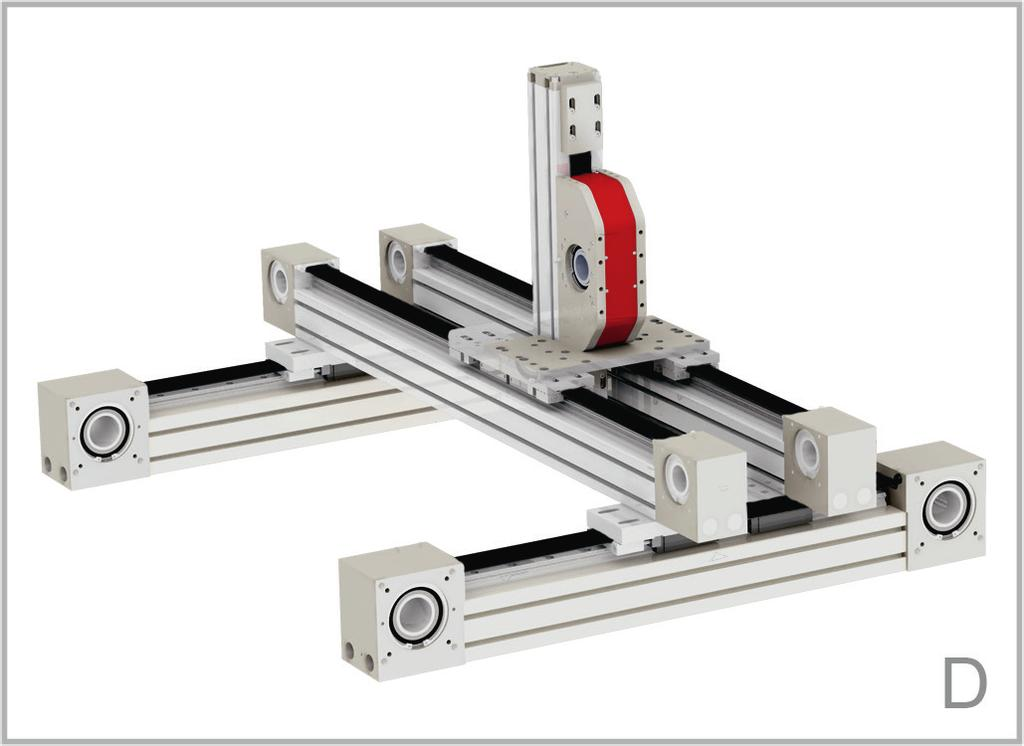 axis - X-Y-Z system B - Linear units: 2 E-Smart Connection kit: Parallel Kit D - Linear units: X Axis 2 E-Smart - Y Axis