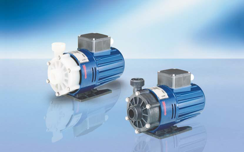 RM MAGNETICALLY COUPLED CENTRIFUGAL PUMPS TYPE 2U Delivery rate up to 118 (130) l/min Delivery head up to 16 m WS (type 2D as twin pump) No shaft seal required For aggressive and neutral liquids With