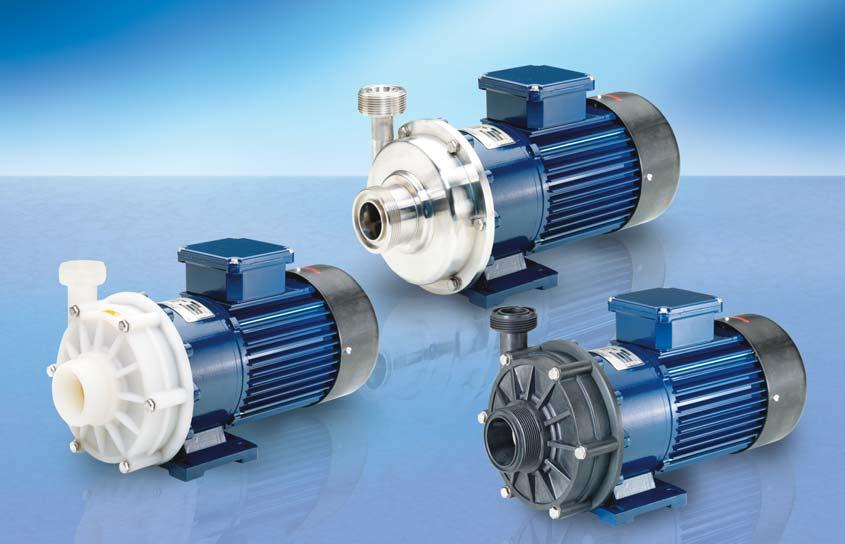 RM MAGNETICALLY COUPLED CENTRIFUGAL PUMPS TYPE 3 Delivery rate up to 200 (230) l/min Delivery head up to 23 (28) m wc No shaft seal required For aggressive and neutral liquids Made of PP or PVDF