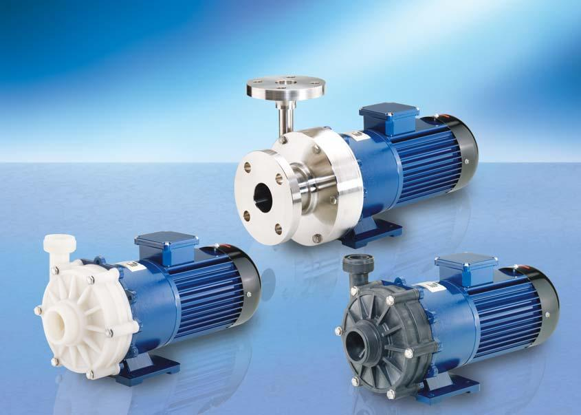 RM MAGNETICALLY COUPLED CENTRIFUGAL PUMPS TYPE 4 Delivery rate up to 400 l/min Delivery head up to 36 m wc No shaft seal required For aggressive and neutral liquids Made of PP, PVDF and stainless