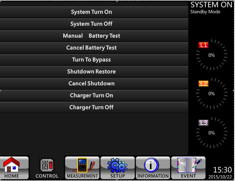 BATT, INV and LOAD On UPS operating in Fault Mode. FAULT On or Flashing (Alarm) 4.2.3 Control Screen Touch to enter into the submenu (as shown in Figures 4.5 and 4.6).