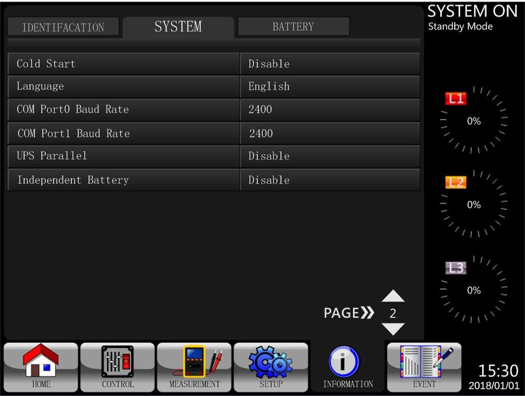 2 INFORMATION - System Screen When the System submenu is selected, information such as the system