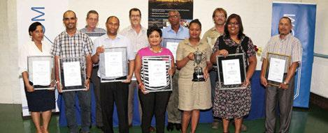 Lammie Fick, Site Supervisor, was presented with the Signalling Employee of the Year award, and Lethiwe Mpofu, Trainee Technician, was named winner The first presentation made by Mervyn Naidoo after