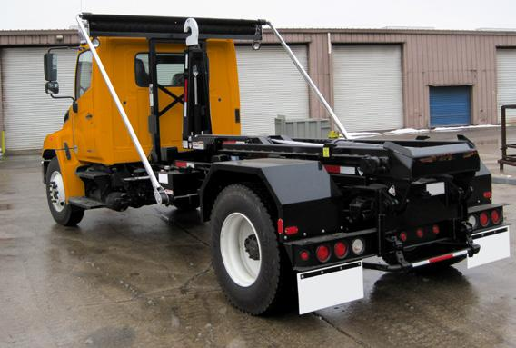 above truck frame to allow clearance For Single Axle Trucks with Similar Size Containers Roll Off & Hooklift