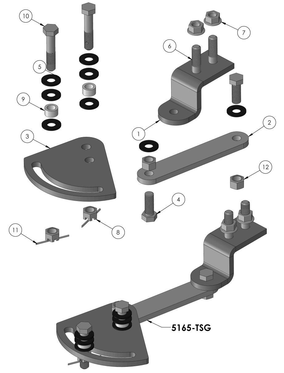 AUTO RELEASE KIT 5165 INCLUDES MOUNTING HARDWARE 1 5159 LINK - OFFSET 1 2 5156 LINK 1 3 5155 PLATE - CAM 1 4 13105 HHCS.375 x 1.0-16UNC 2 5 11114-01140.375 NYLON WASHER 8 6 95109 HHCS.375 x 1.50-16UNC 2 7 10041-02995.