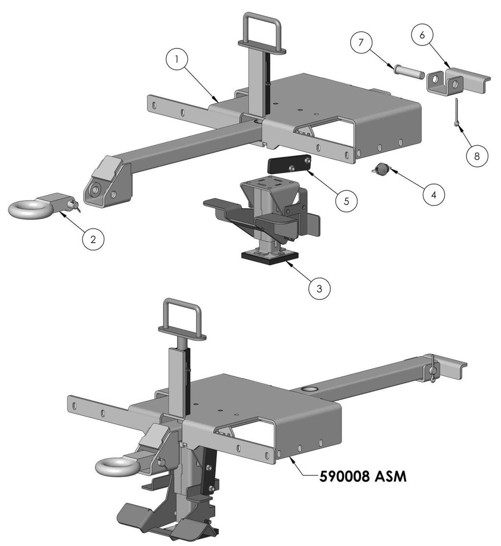 RETRACTABLE TOW BAR/ FLOOR LOCK ASSEMBLY 590008ASM ITEM NO. PART NUMBER DESCRIPTION EXTENDED/QTY.
