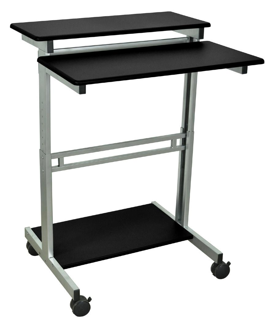 Manual Adjustable Stand Up Desk Features: Two-tiered shelf design with double laminate wood surface Height of lower and upper shelves adjust simultaneously in 1 increments Four 3 furniture grade