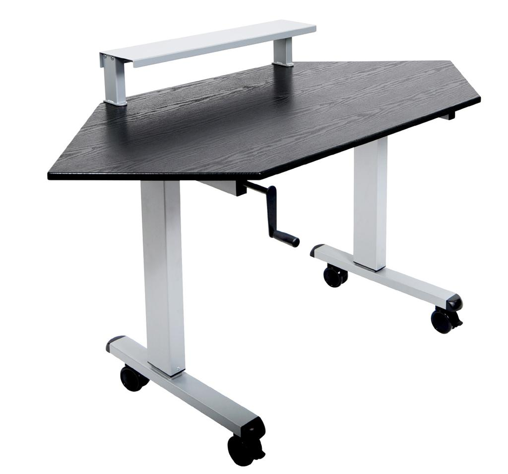 Crank handle extends and stows away to allow easy height adjustment Single Column Crank Adjustable Desk Features: Quickly move