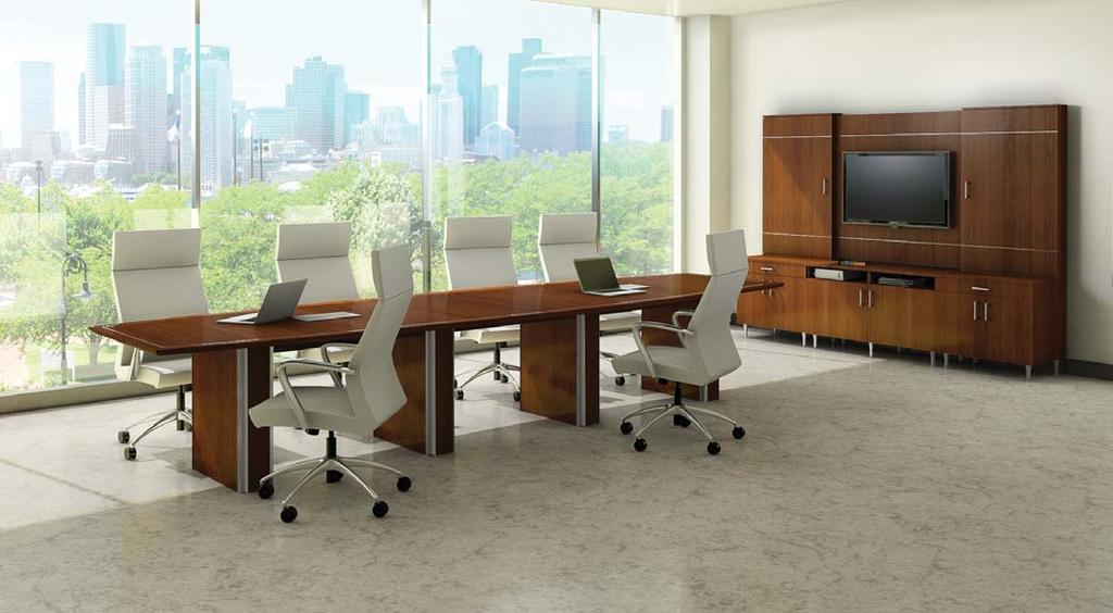 Communique JASPER DESK Model # Description/Dimension Wood Finishes Price Communique conference room furniture features either a black or anodized aluminum metal inlay.