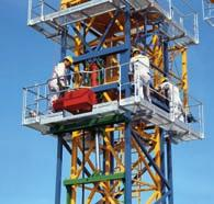 It consists of the guide section (blue), the hydraulic system (red) and the