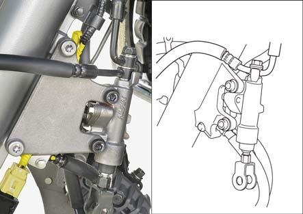 Remove the following: oil bolt (upper side) and sealing washers upper side brake hose(s) brake hose joint