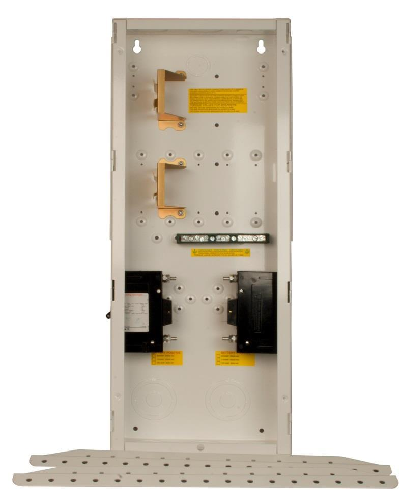 It has locations for 10 din rail breakers, 3 panel mount breakers, DC shunt as well as long and short terminal buss bars.